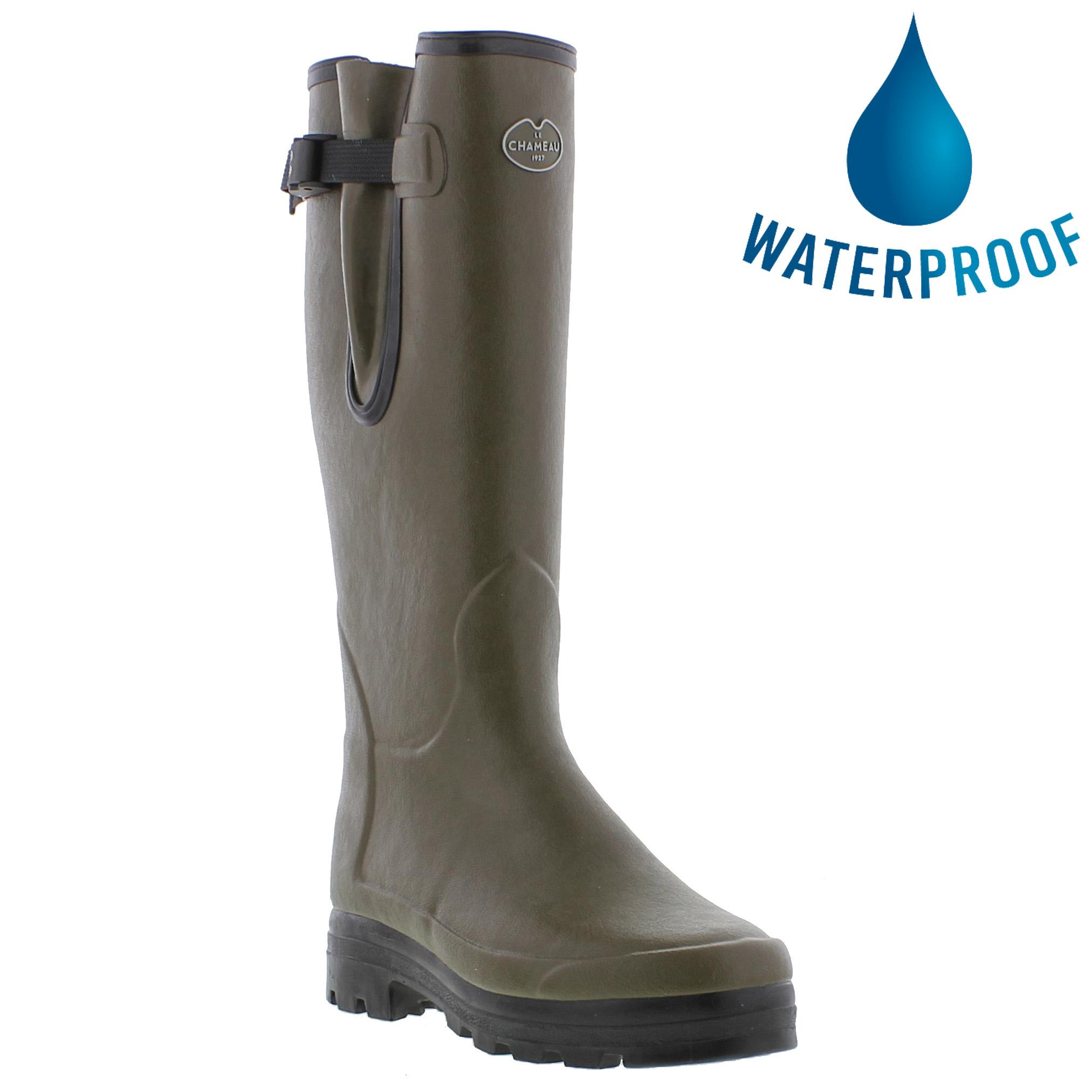Le Chameau Mens Vierzonord Neoprene Lined Wellies Rain Boots - Vert Chameau