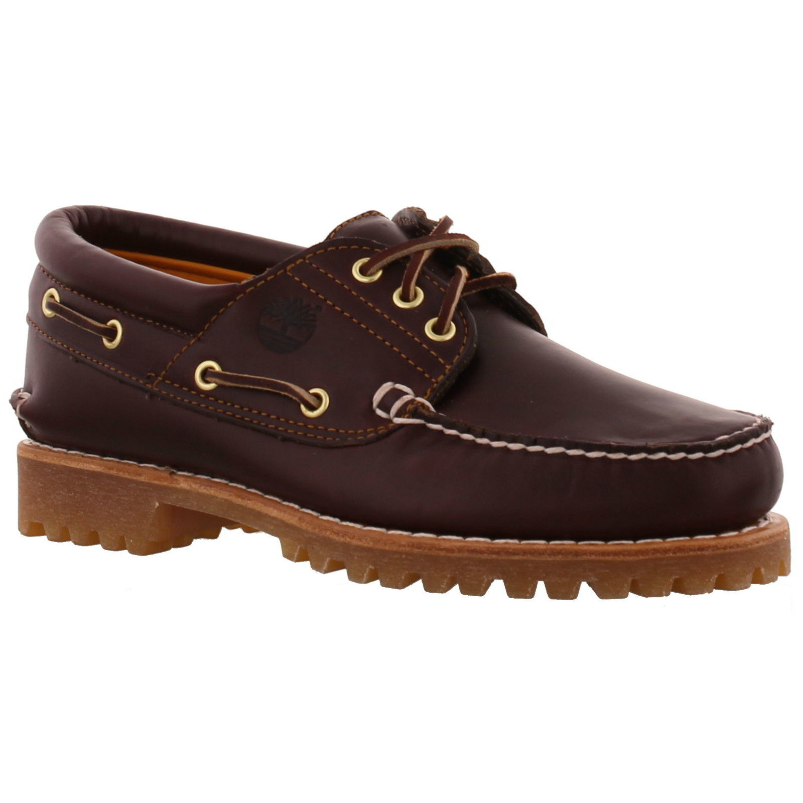 New Timberland 50009 3 Eye Boat Mens Brown Leather Deck Shoes Size...