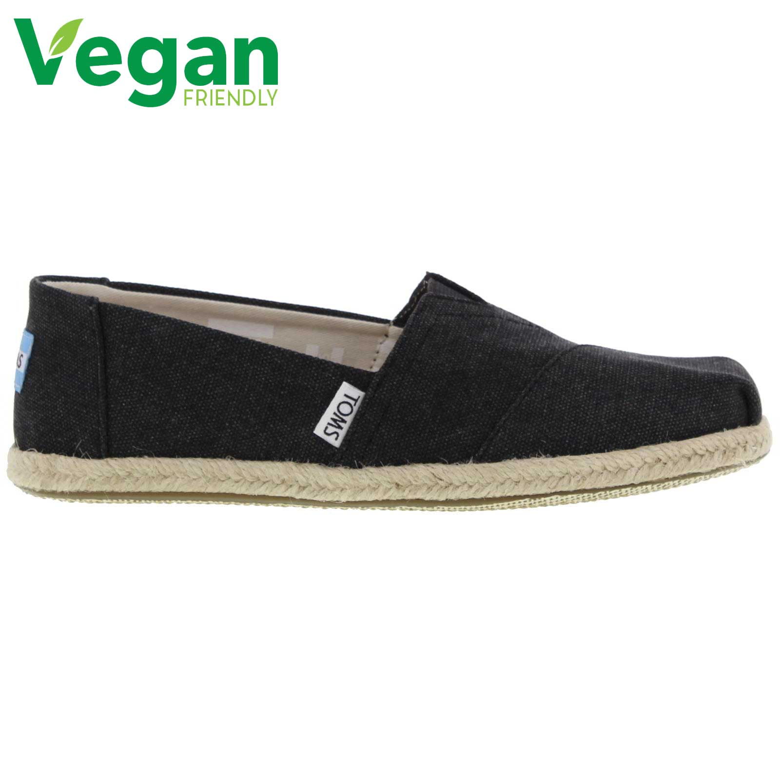 Toms Womens Classic Espadrille Vegan Shoes - Black Washed
