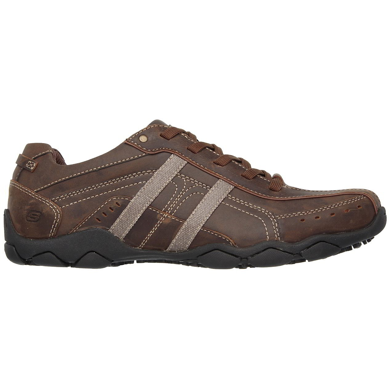 Skechers Mens Diameter Murilo Leather Lace Up Shoes - Dark Brown