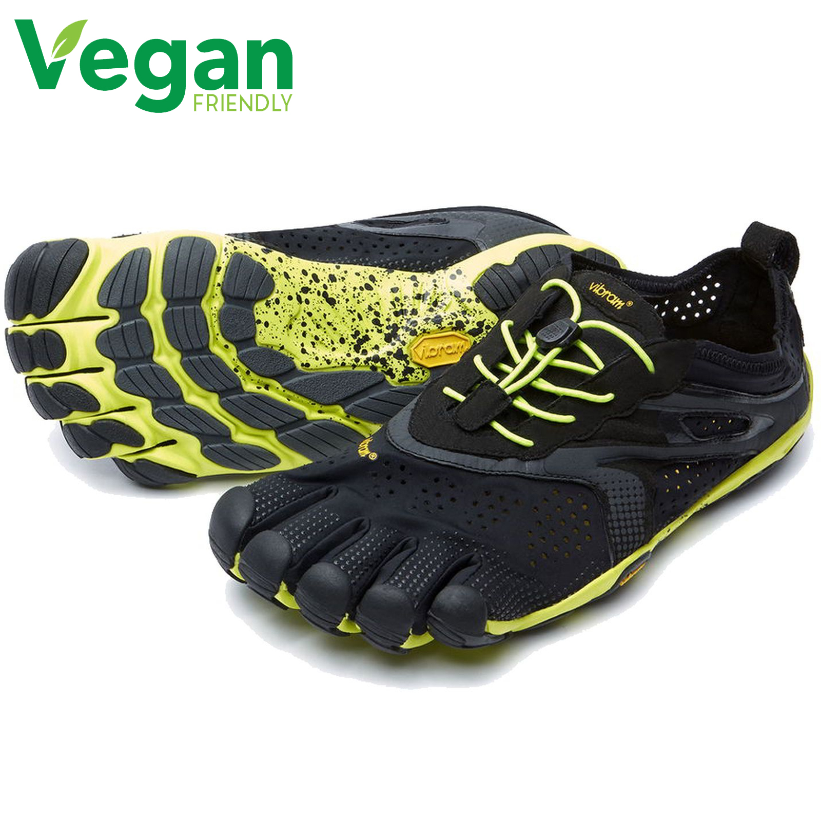 Vibram Five Fingers Mens V-Run Vegan Barefoot Shoes - Black Yellow