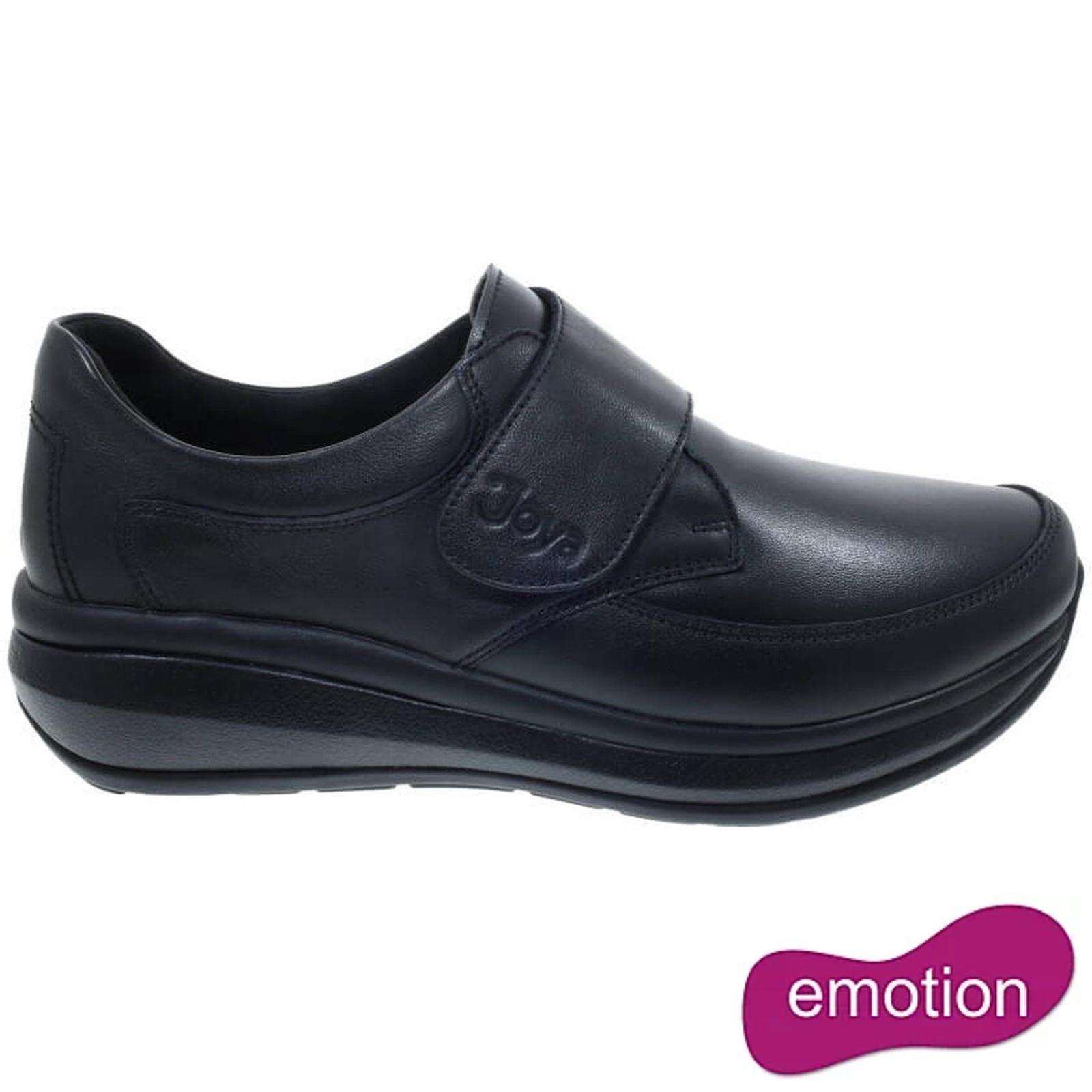 Joya Womens Relax Velcro Leather Shoes - Black