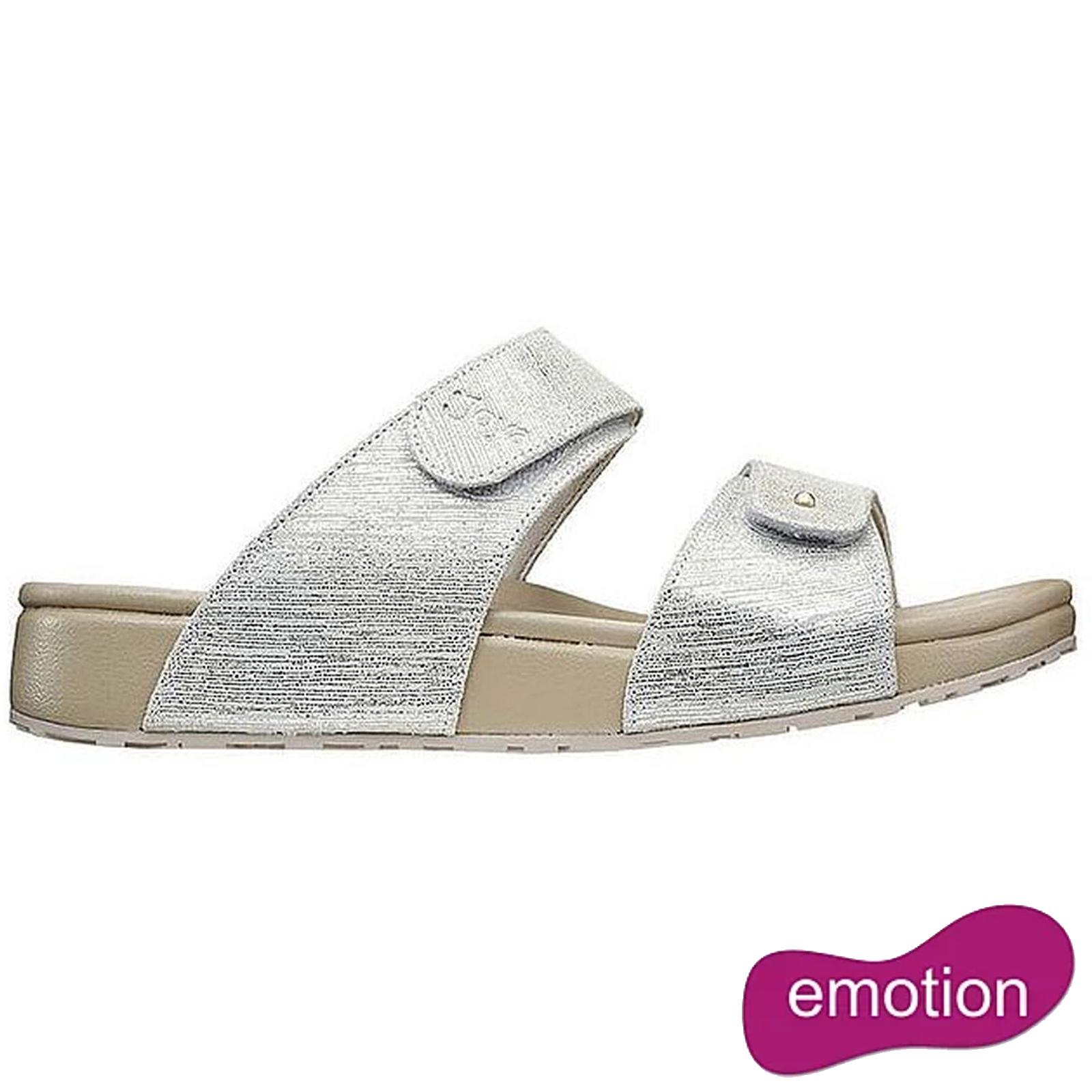 Joya Womens Vienna Adjustable Slide Sandal - Beige Metallic