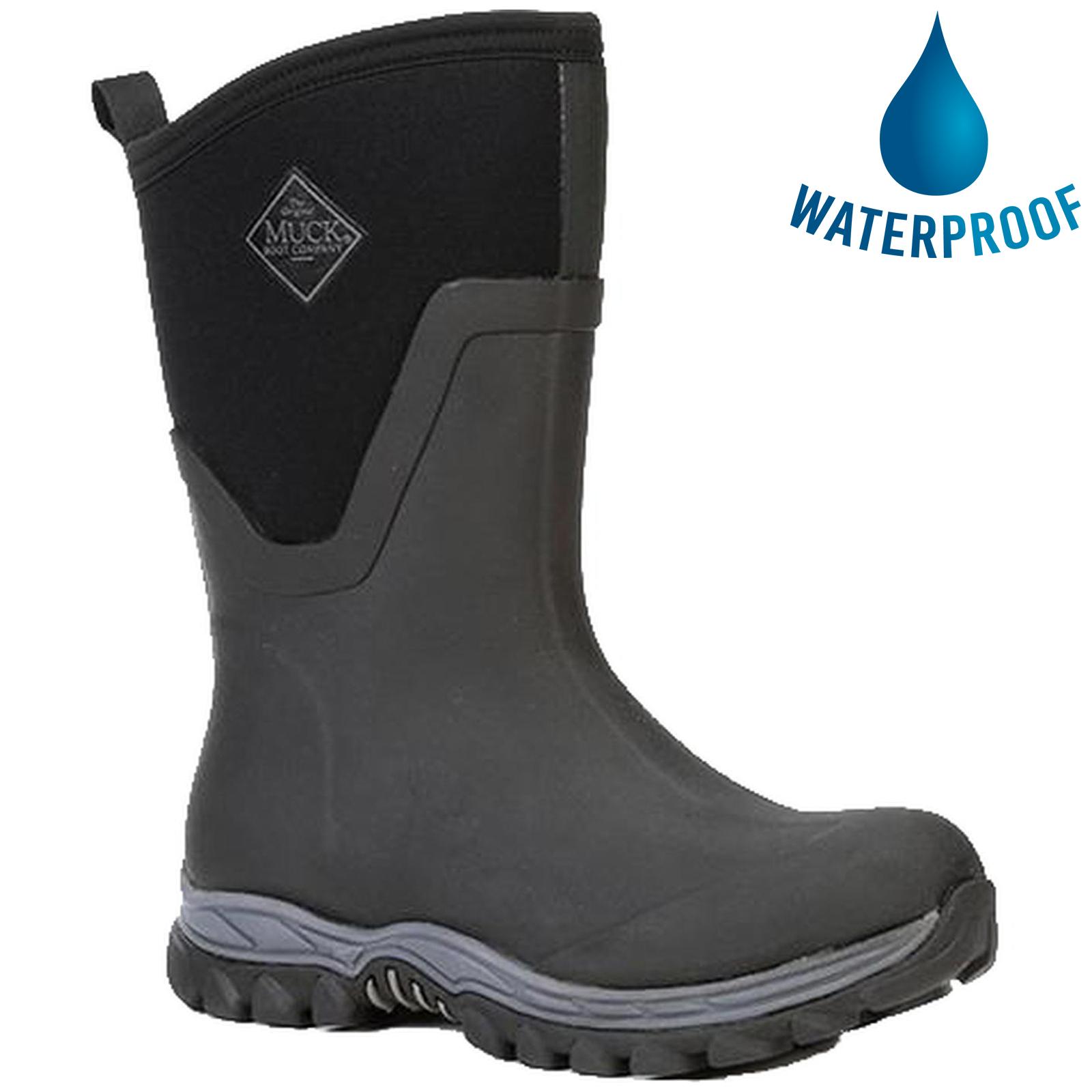 Muck Boots Womens Arctic Sport II Mid Neoprene Wellies Rain Boots - Black