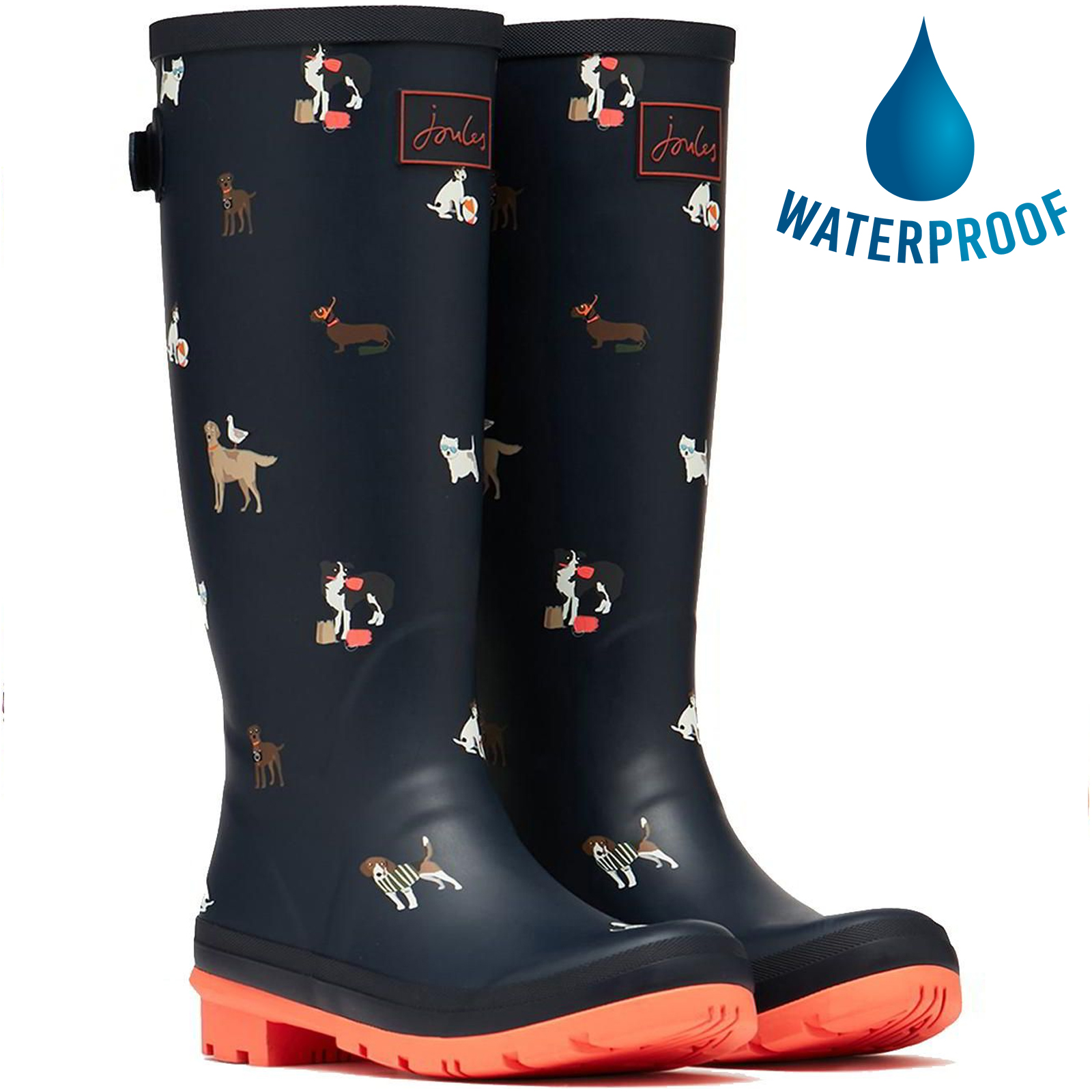 Joules Womens Welly Print Tall Wellies Wellington Boots - Navy Beach Dogs
