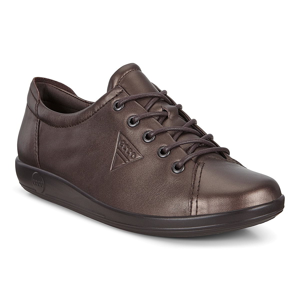 Ecco Shoes Womens Soft 2.0 Leather Shoes - Shale Metallic