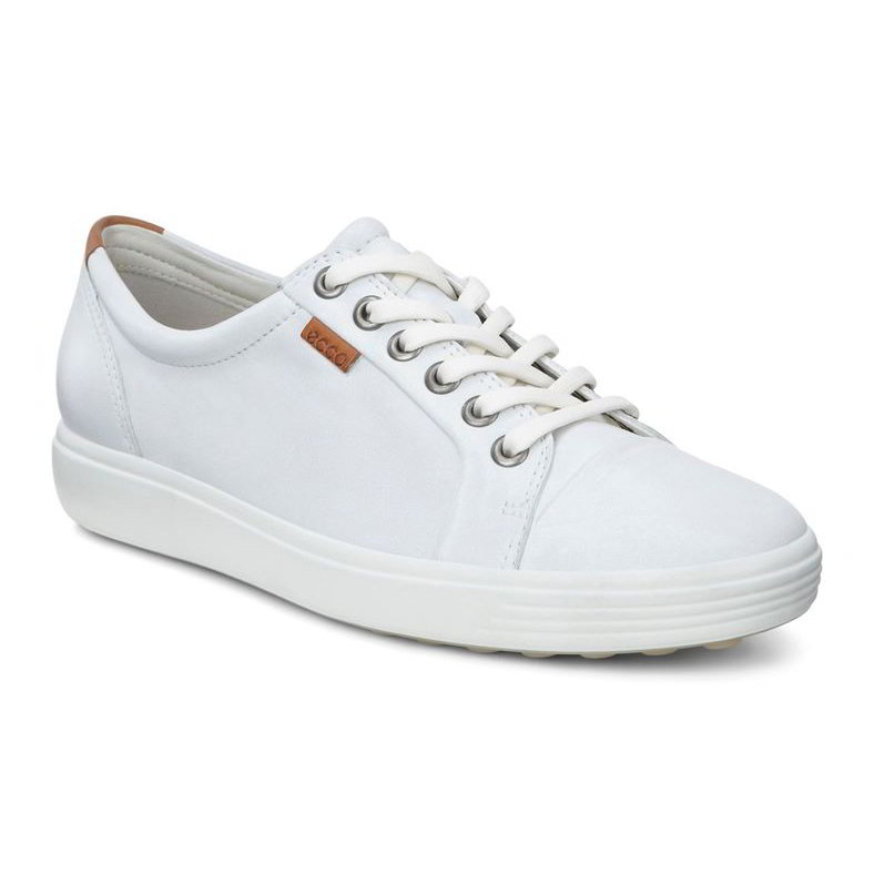 Ecco Shoes Womens Soft 7 Leather Trainers - White