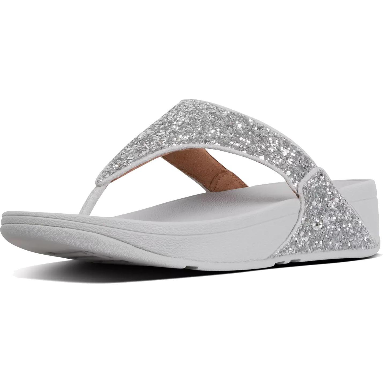 Fitflop Womens Lulu Glitter Toe Thongs Sandals - Silver
