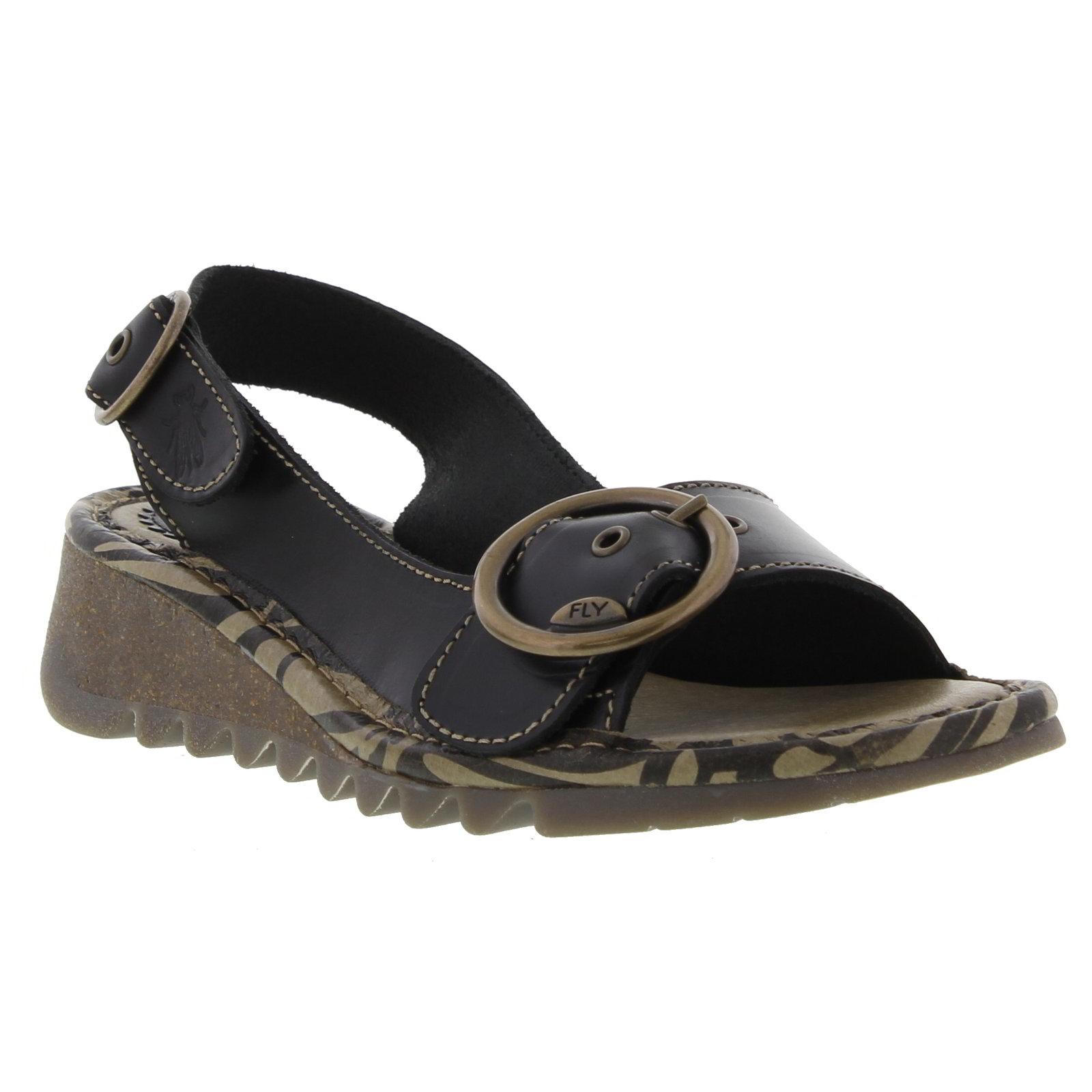 fly london womens tram leather slingback wedge sandals - uk 6 / eu 39