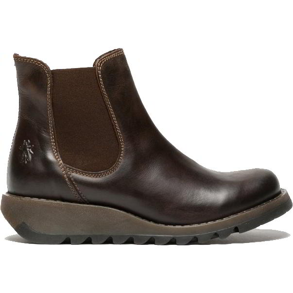 Fly London Salv Womens Leather Wedge Chelsea Ankle Boots - Dark Brown