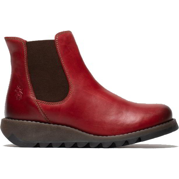 Fly London Salv Womens Leather Wedge Chelsea Ankle Boots - Red