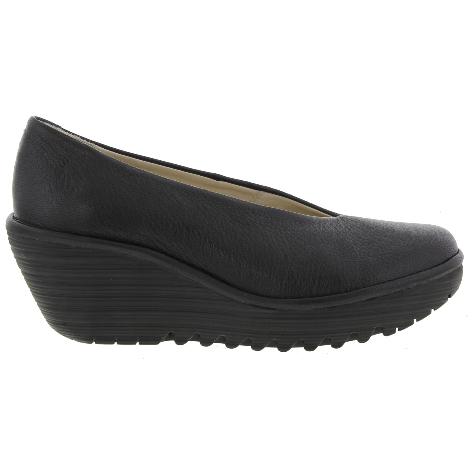 Fly London Womens Yaz Slip On Wedge Shoes - Black