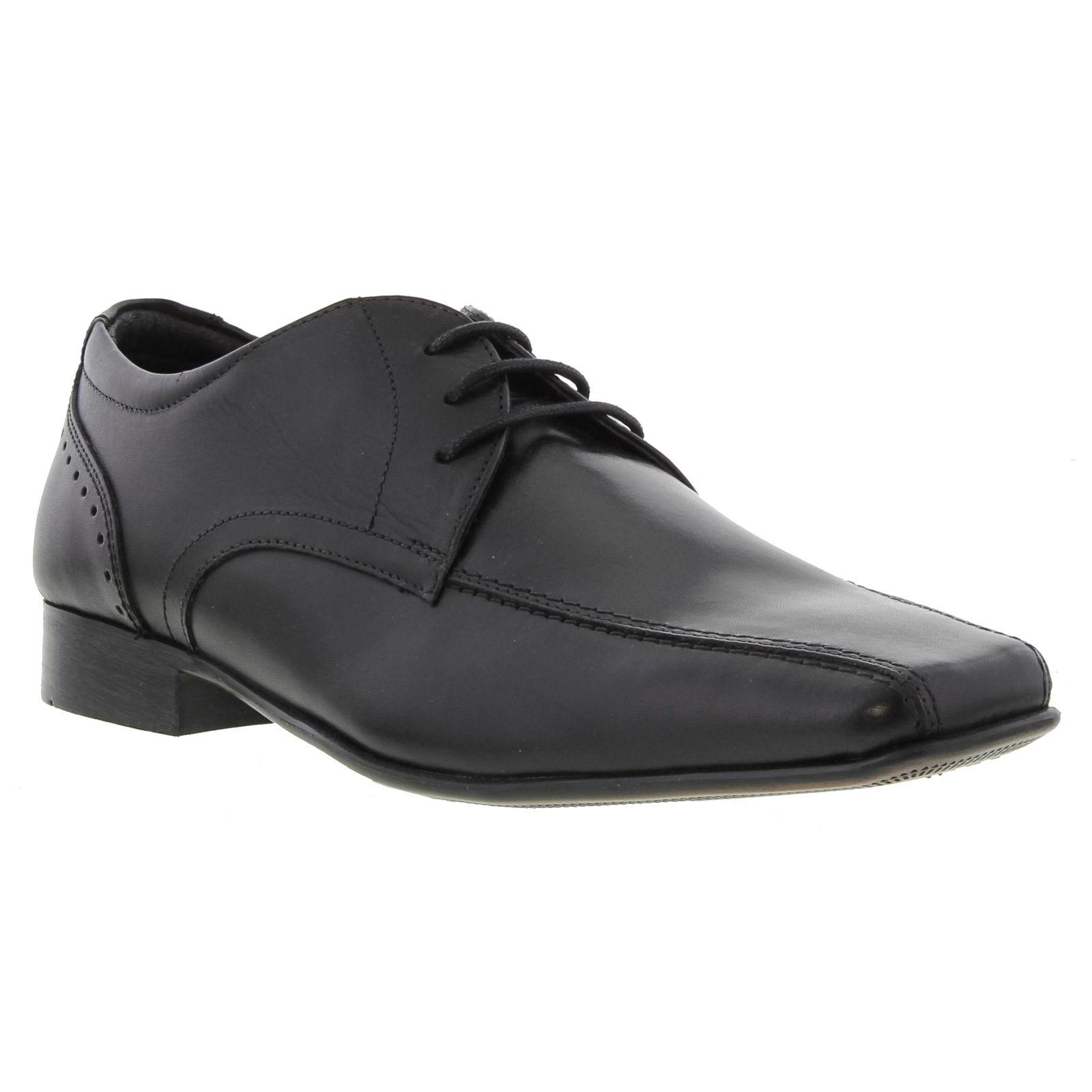 Ikon Mens Fraser Leather Lace Up Shoes - Black