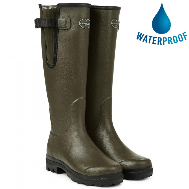 Le Chameau Mens Vierzon Jersey Lined Wellies Rain Boots - Vert Chameau