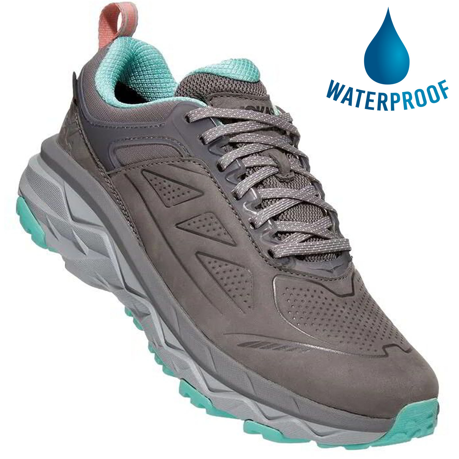 Hoka One One Womens Challenger Low GTX Waterproof Trail Running Shoes - Charcoal Grey Wild Dove