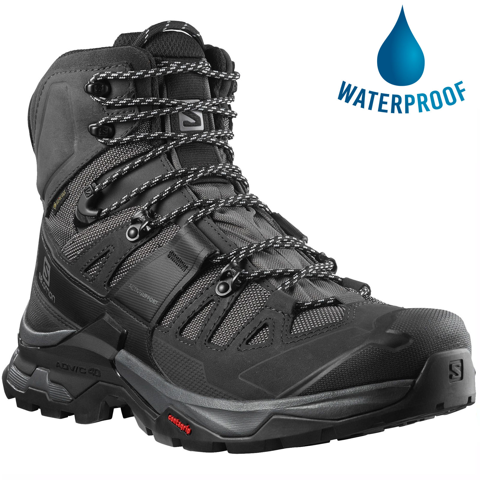 Salomon Mens Quest 4 GTX Waterproof Walking Hiking Boots - Magnet Black Quarry