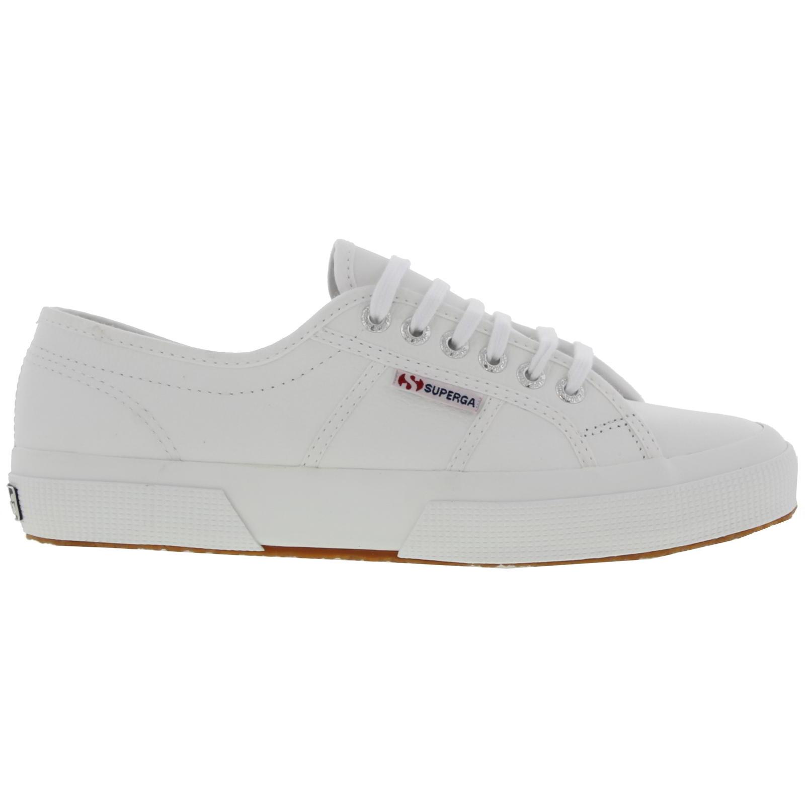 Superga Womens 2750 Cotu EFGLU Leather Trainers Shoes - White