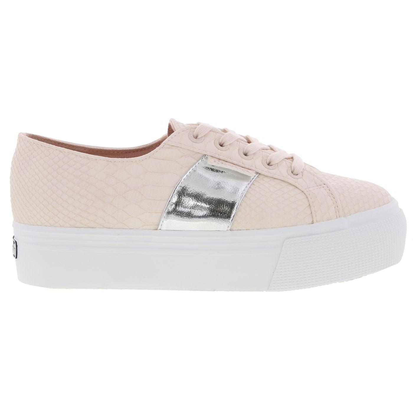 Superga Womens 2790 Snake Chunky Platform Trainers Shoes - Light Pink