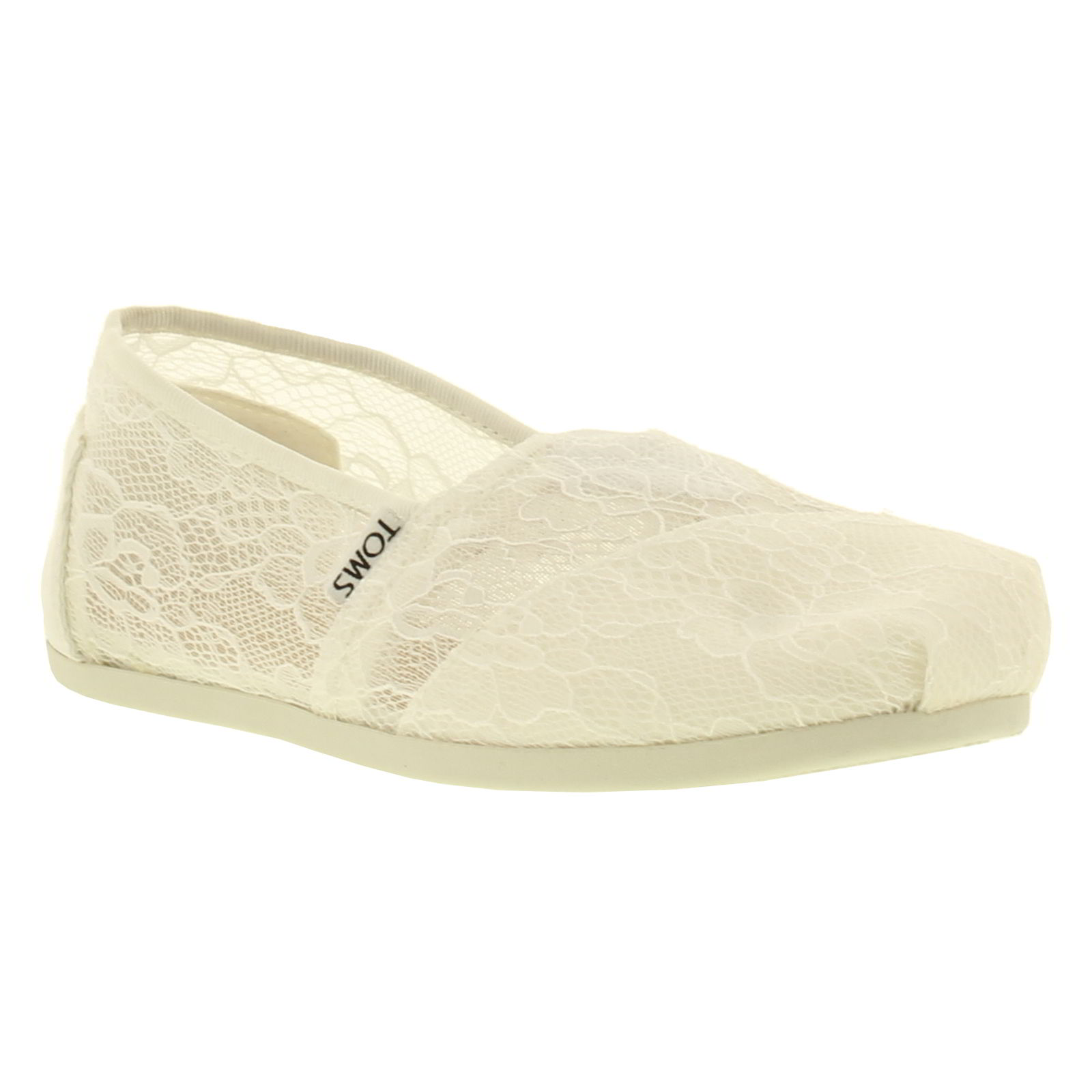 Toms Womens Classic Lace Slip On Espadrille Shoes - White Lace