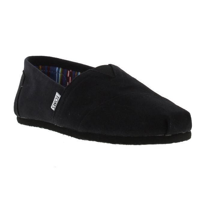 TOMS Mens Classic Alpargata Slip On Espadrille Shoes - Black on Black