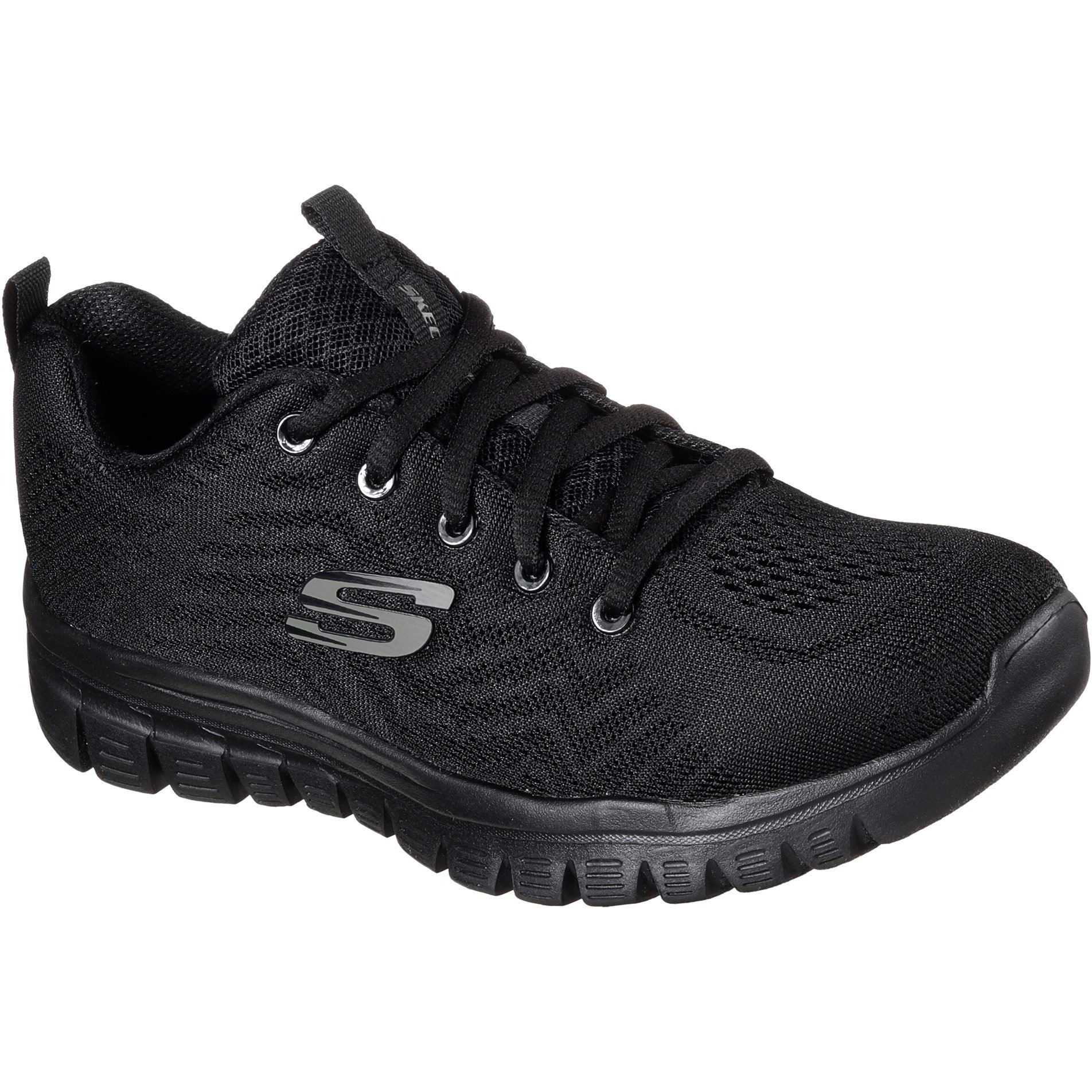 Skechers Womens Graceful Get Connected Trainers Shoes - Black Black