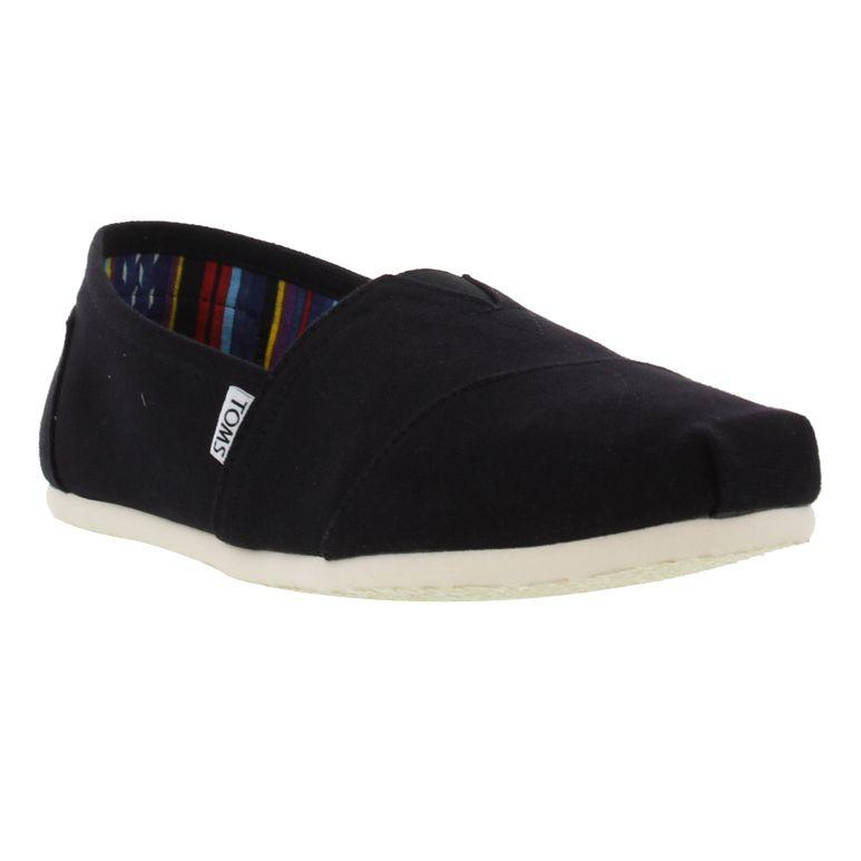 TOMS Mens Classic Alpargata Slip On Espadrille Shoes - Black White