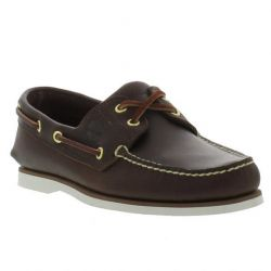 Timberland Mens Classic Boat Shoes - Dark Brown White - 74035
