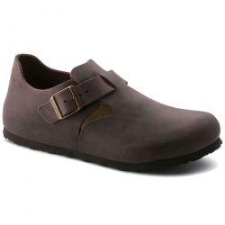 Birkenstock Mens Womens London Leather Regular Fit Shoes - Habana Brown
