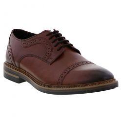 Base London Mens Butler Brogue Shoes - Burnished Rosewood