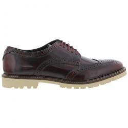Base London Mens Raid Brogue Shoes - Hi Shine Bordo