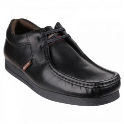 Base London Mens Storm Leather Shoes - Waxy Black