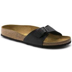 Birkenstock Womens Madrid Birko Flor Cork Sandals Regular Fit - Black