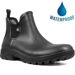 Bogs Mens Sauvie Slip On Waterproof Wellies Chelsea Boots - Black