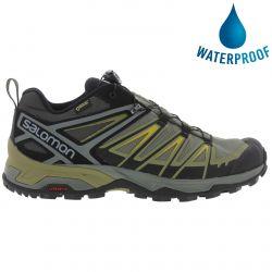 Salomon Mens X Ultra 3 Gtx Waterproof Walking Hiking Trainers Shoes - Castor Grey Beluga Green