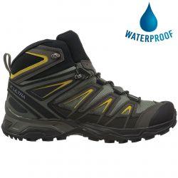 Salomon Mens X Ultra 3 Mid Gtx Waterproof Walking Hiking Boots - Castor Grey Black Green Sulpher
