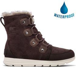 Sorel Womens Explorer Joan Waterproof Boots - Blackened Brown