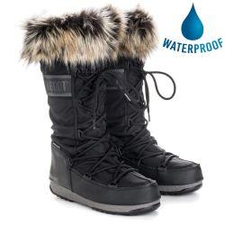 Moon Boots Womens Monaco 2 Waterproof Boots - Black