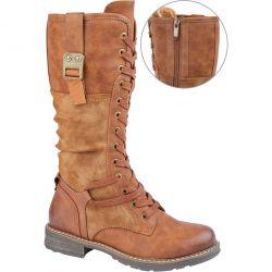 Cipriata Womens Gabriela Tall Military Combat Boots - Tan