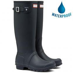 Hunter Womens Original Tall Wellies Rain Boots - Navy