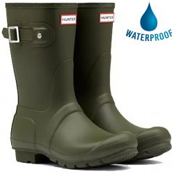 Hunter Womens Original Short Wellington Boots - Dark Olive