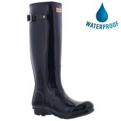 Hunter Womens Original Tall Gloss Wellies Rain Boots - Navy