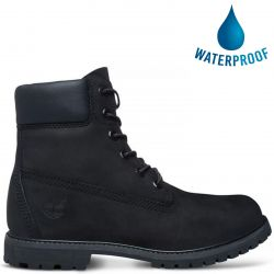 Timberland Womens 6 Inch Premium Waterproof Boots Wide Fit - 8658A - Black
