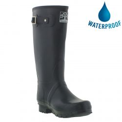 Woodland Mens Womens Wellies Wide Fit Wellington Boots - Navy
