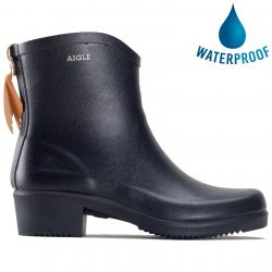 Aigle Womens Miss Juliette Bottillon Wellies Chelsea Rain Boots - Noir