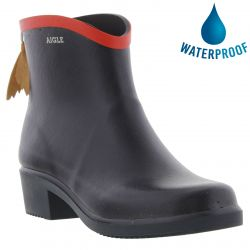 Aigle Womens Miss Juliette Bottillon Wellies Chelsea Rain Boots - Marine Rouge