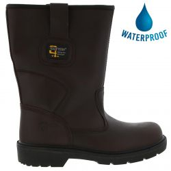 Grafters Mens Waterproof Steel Toe Cap Rigger Safety Boots - Brown