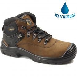 Grafters Mens Waterproof Steel Toe Cap Safety Boots - Brown