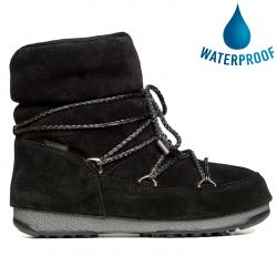 Moon Boots Womens WE Low Suede Waterproof Boots - Black