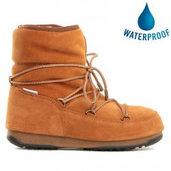 Moon Boots Womens WE Low Suede Waterproof Boots - Whiskey