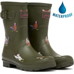 Joules Womens Molly Welly Short Wellington Boots - Khaki Chickens